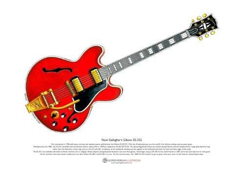 George Morgan Illustration Art Cartel de 1960's Gibson ES-355 Guitarra de Noel Gallagher, tamaño A3
