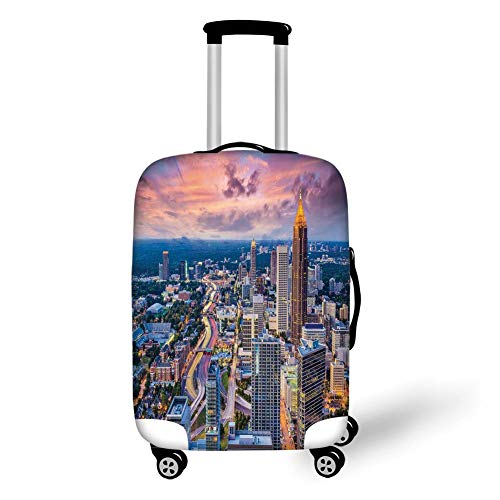 Travel Luggage Cover Suitcase Protector,Modern,Atlanta City Skyline at Sunset with Hazy Light Georgia Town American View,Baby Pink Blue Silver,for Travel,M