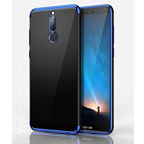 BLUGUL Cover Huawei Mate 10 Lite, Electroplating Coloring, Ultra Sottile, Morbida TPU Silicone Case, Trasparente Chiaro Custodie per Mate 10 Lite Blu
