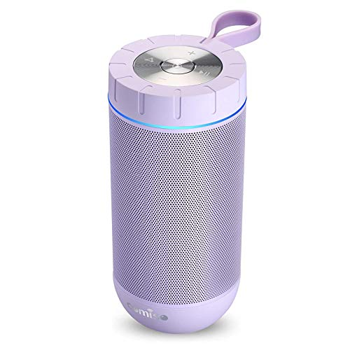 COMISO Waterproof Bluetooth Speakers Outdoor Wireless Portable Speaker with 24 Hours Playtime Superior Sound for Camping, Beach, Sports, Pool Party, Shower (Purple)
