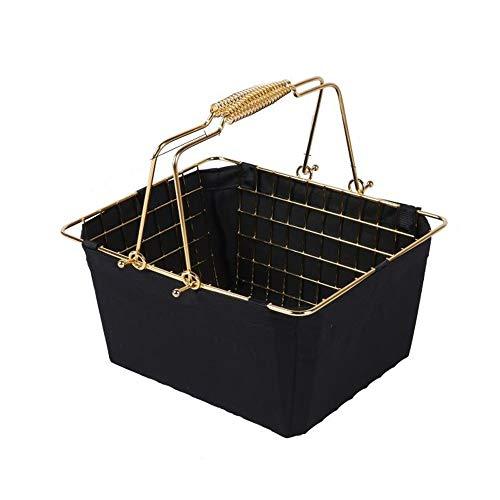 DORE HOME Einkaufswagen Schmiedeeisen Supermarkt Einkaufswagen Haushalts Badezimmer-Speicher-Korb Vergoldete Removable Waschbare Tuch-Abdeckung (Color : Black)
