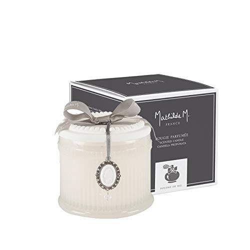 Mathilde M : Coffret Grande Bougie Parfumée à 3 Mèches (35h) - Parfum d'Ambiance d'Intérieur (Poudre de Riz)