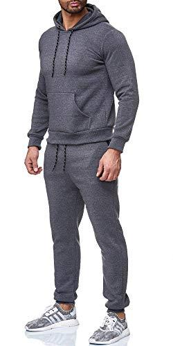 Baxboy Herren Uni Colour Jogging Anzug Trainingsanzug Sportanzug Fitness Sporthose Hose Hoodie H-500, Farbe:1128_Anthrazit, Größe:S