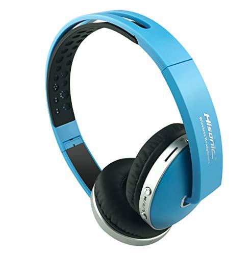 Auriculares Bluetooth Inalámbrico, Hisonic Casco Bluetooth con Tarjeta TF, Micrófono Incorporado, Auriculares Bluetooth de Diadema Plegable para TV, PC, Tablet, Móvil y Otros Dispositivos(Azul)