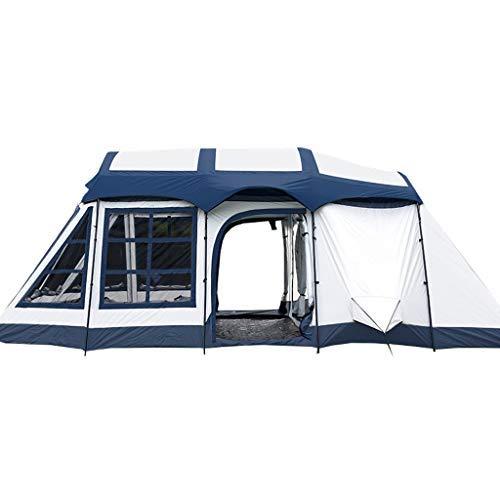 DJY-JY Protector Solar Impermeable al Aire Libre Dos Habitaciones y una Sala de Estar 8-10 Personas acampando Tienda Familiar Mochila Carpa Tienda (Color : Blue)