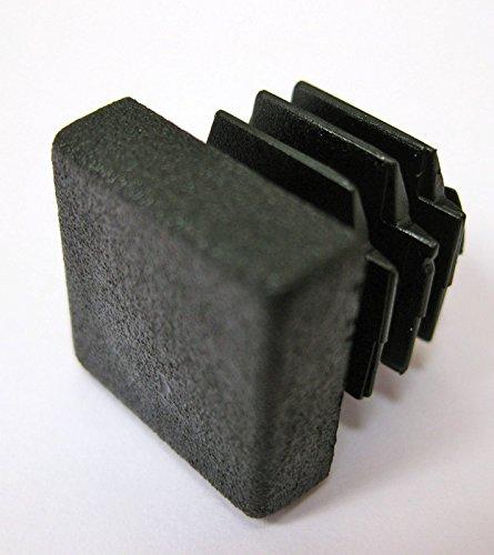 Carré Plastique Noir Blanking Embouts Tube Tuyau inserts Plug Bouchon rectangulaire, 40 mm/1,25 Mm-1.5 mm, 8