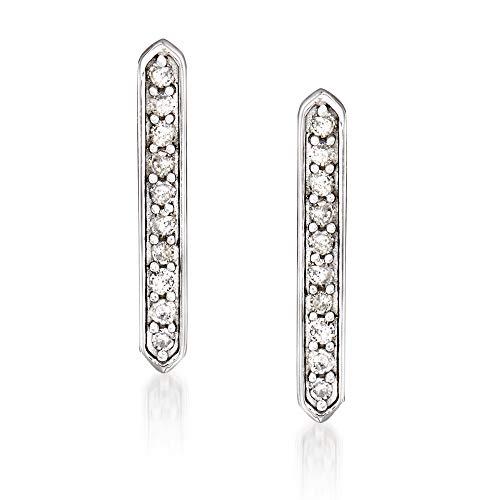 Ross-Simons Diamond-Accented Linear Bar Earrings in 14kt White Gold For Women