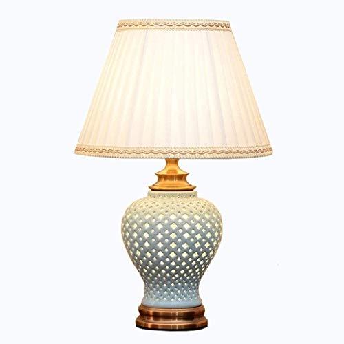 YAOSHI Lámpara de Dormitorio Haz de cerámica geométrica del Recorte de Escritorio de la Tabla de la lámpara del Bulbo con la luz Lámpara de Mesa Retro