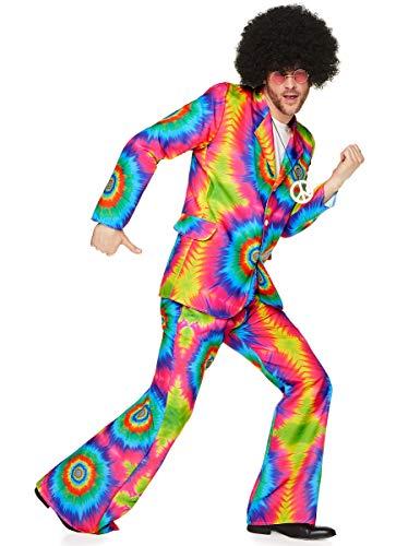 KULTFAKTOR GmbH 70er-Jahre Batik-Anzug Disco-Kostüm neonbunt XL