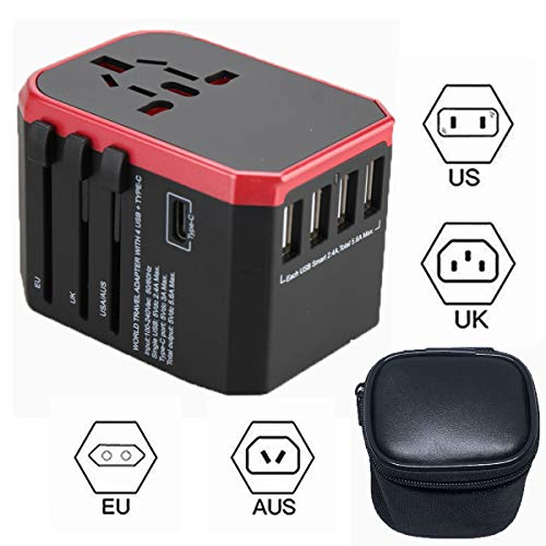 Lovfri Travel Adapter, Power Adapter with Security Lock, Universal Travel Power Adapter with 4 USB and Type-C 3.0 Ports, The Best International Plug Suitable for US,EU,UK, AUS(Black Bag)