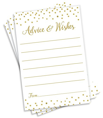Advice and Wishes - Gold Confetti (50-Cards) Any Occasion - Wedding Advice Cards, Advice for The Bride, Retirement or Graduation Party, Baby or Bridal Shower Games, Birthday Party, Engagement