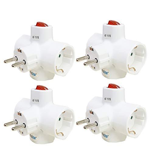 Extrastar Adaptador triple con enchufe schuko y interruptor luminoso 16 A 250v 3680W 4 paquetes