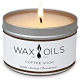 Wax and Oils Soy Wax Aromatherapy Scented Candles (Coffee Shop) 8 Ounces. Single