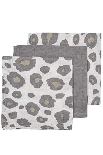 Meyco 457021 Musselin-Mull-Hydrophile Spucktuecher 100% Baumwolle 3er Set 30x30cm PANTER Neutral/Grau, mehrfarbig