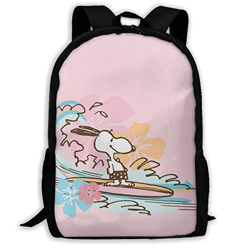 Mei-shop Casual Backpack Surfing Sn-oopy Print Zipper School Bag Travel Daypack Backpack