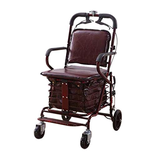 Carrito de compras O De Ocio Plegable, Carrito De Supermercado con 4 Ruedas, Viaje para Ancianos con Pedal + Alarma