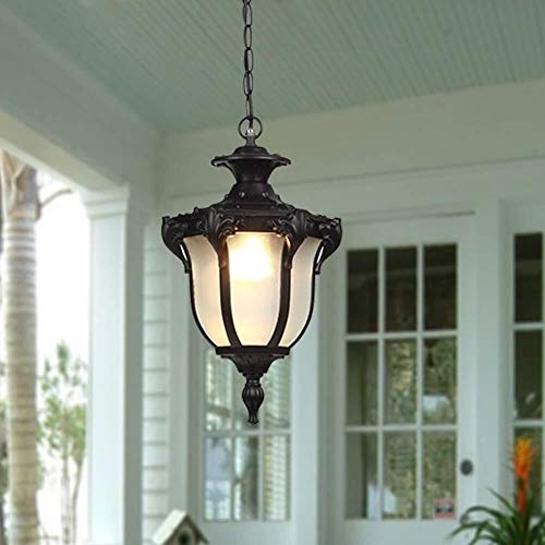 Traditionele waterdichte buitenverlichting, 1 lamp, voor patio, veranda, hanger, verlichting, hanglamp, licht (kleur: zwart m-41,5 cm)