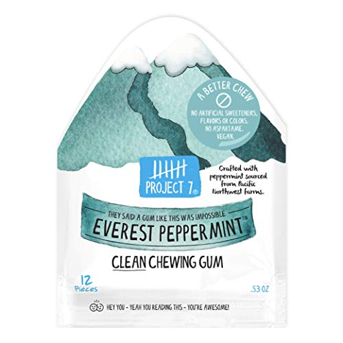 Project 7 Clean Gum Everest Peppermint   Long Lasting, Vegan, Non-GMO, Aspartame Free, Sugar-Free & Low Carb   12 packs (144 pieces)