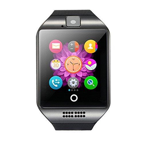 Bluetooth Smart Watch, Q18 Touch Screen Smartwatch met Camera en SIM-kaart TF/SD-kaart Slot Stappenteller Activiteit Tracker voor iphone Android-telefoons Samsung HUAWEI PK GT08 A1, Zwart