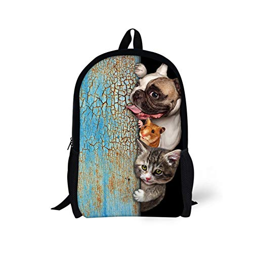3D Backpack Dog Picture, Middle School Student Bag, Cartoon Climbing Wall 3D Animal Backpack Lightweight Travel Backpack 44 * 28 * 13CM D