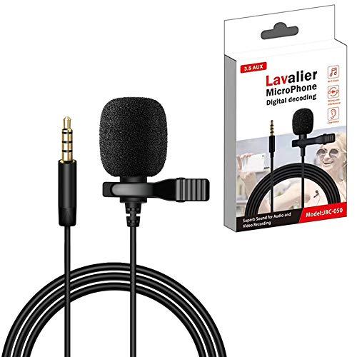 LYYDAN Lavalier - Micrófono para móvil y PC, con cable alargador de 1,5 m para entrevistas, videoconferencias, podcast, guía de voz