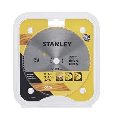 Stanley STA10080-XJ CV-dwarszaagblad (100 tanden, 140 mm diameter, 12,7 mm boring, geschikt voor Black+Decker machines, gebruik in multiplex, fijne sneden & dwarsdoorsneden), zwart/geel