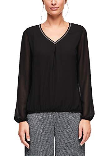 s.Oliver BLACK LABEL Damen Fabric-Mix-Shirt mit Schmuckkragen Black 36
