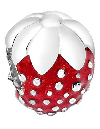 Nenalina Erdbeere Silber Bead mit Emaillie rot in 925 Sterling Silber, auch kompatibel für Pandora Beads Armbänder, 717506-001