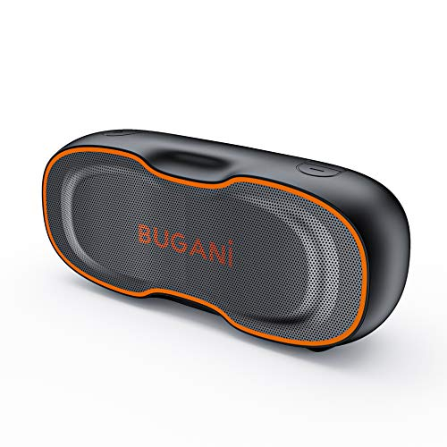 Bluetooth Speaker, Bugani Portable Bluetooth Speaker 5.0, Clear Stereo, Rich Bass, Waterproof Speaker, 24 Hours Long Play Time, Wireless Speakers Suitable for Home, Outdoor, Travel (Orange)