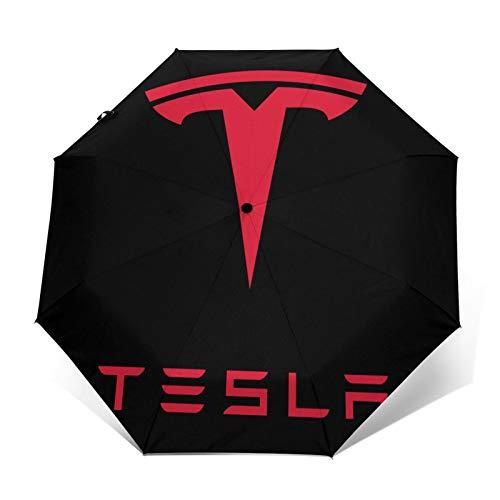 Paraguas plegables Te-Sla Wh-Ite Impresión de moda Unisex ligero plegable automático triple paraguas paraguas de sol portátils