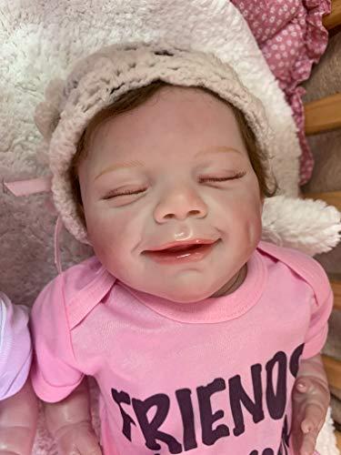 22 inch Reborn Baby Dolls Smiling Sweet Girls Full Limbs with Cotton Body Reborn Toddler Silicone Baby Newborn Preemie Girls with Bodysuit Xmas Gift (Pink) -  RBB Dolls, 22NPK2001-2001