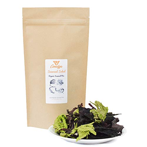 CENALGA Organic Irish Seaweed Salad Fusion - Dulse, Sugar Kelp, Sea Lettuce, Wakame - 1.5 oz / 42.5 g We avoid Plastic Pouch - Vegan - non-GMO - Fat-Free - Gluten-Free