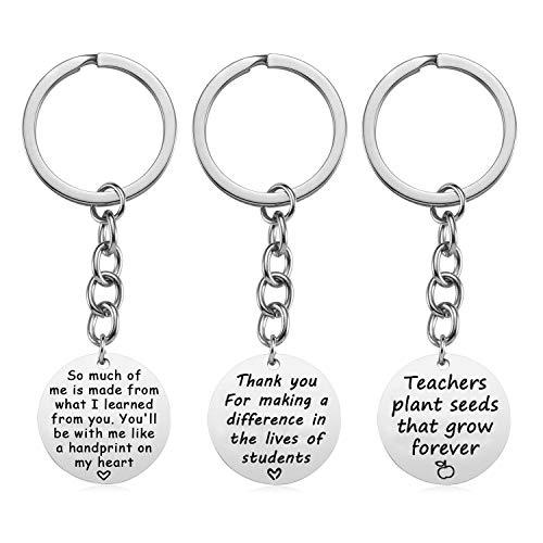 XYBAGS Teacher Appreciation Gifts Keychain, 3PCS Stainless Steel Teacher Gifts, Graduation Gift for Teachers Women Men