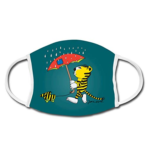 Janosch Tiger Und Tigerente Mit Regenschirm Mund-Nasen-Bedeckung, Weiß