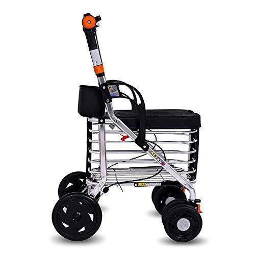 DFKDGL Einkaufsroller klappbar Schieben/Ziehen, Folding Vier fahrbaren Rollator Walker mit Einkaufswagen Leichter Trolley in Aluminium für senioren mit Sitz höhenverstellbar