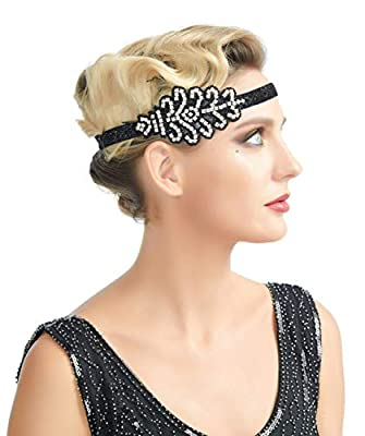 1920s Flapper Headband 20s 30s Women Great Gatsby Headpiece Black Feather Gatsby Hair Accessories Crystal Halloween
