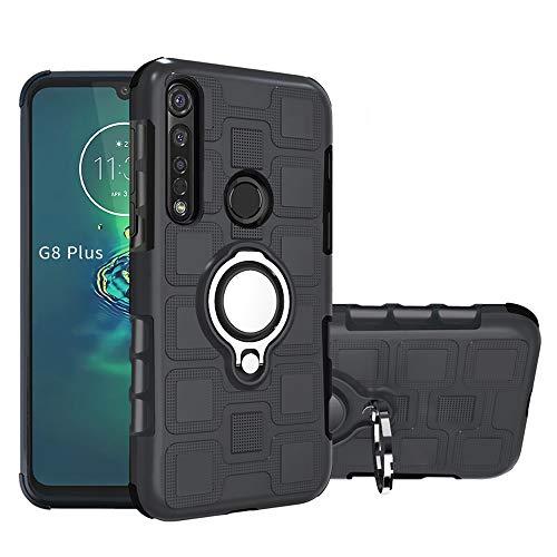 Labanema Funda para Motorola Moto G8 Plus, 360 Rotating Ring Grip Stand Holder Capa TPU + PC Shockproof Anti-rasguños teléfono Caso protección Cáscara Cover para Motorola Moto G8 Plus - Negro