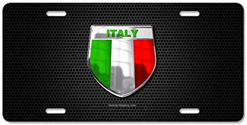 cwb2jcwb2jcwb2j 6' x 12' License Plate Sign, Aluminum Sign, Stylish Design Car Front License Plate Aluminum License Plate Cover Italy Italia Italian Flag Auto Tag Frame