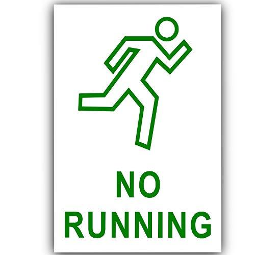 Platina Plaats 1 x Geen Running-Groen op Wit-Externe Sticker-130x87mm-Deur, Let op, Waarschuwing, Premises, Zakelijk, School, Zaal, Gezondheid, Veiligheid, Ongeval