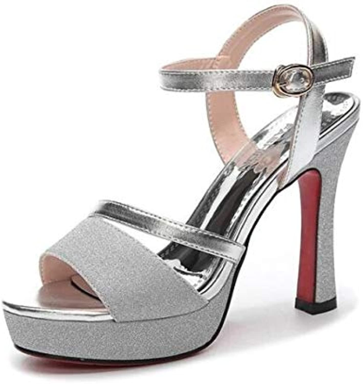 ProDIgal Womens Platform Ankle Strap High Heel - Peep Toe Sandal Pump - Sexy Chunky Dressy Heel