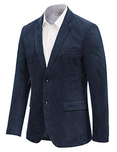 Men's Modern Jacket Corduroy Sport Coat Slim Fit Casual Blazer Navy, Medium