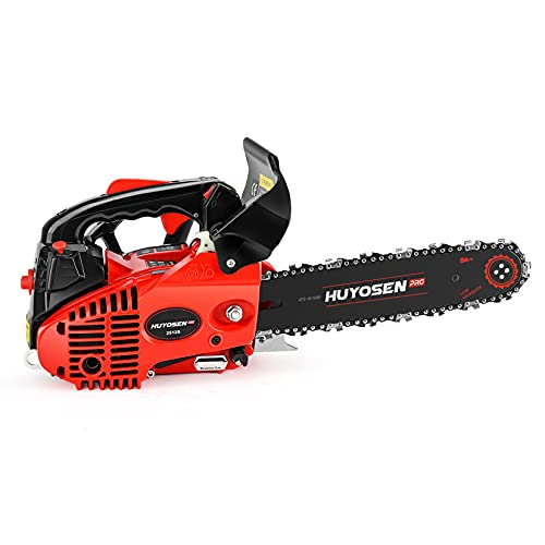 HUYOSEN PRO Gas Chainsaw 25cc 2-Stroke Arborist chainsaw Top Handle Gas Powered 12 In. Chainsaw, Climbing-Professional-Lightweight Chainsaw for Cutting Forest Trees Wood Branch