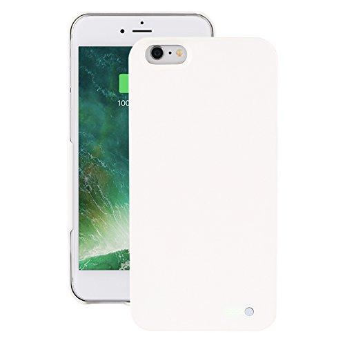Funda de protección de batería móvil ultraligera para iPhone 6 Plus/6S Plus - Funda de batería inalámbrica y recargable - Blanco