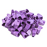 RuiLing 100PCS Purple CAT5E CAT6 RJ45 Ethernet Network Cable Strain Relief Boots Cable Connector Plug Cover