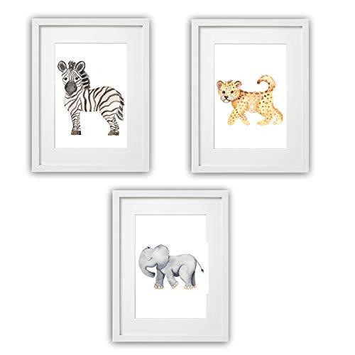 Kinderzimmer Bilder Babyzimmer Poster DIN A4 | Mädchen Junge | Baby Tiere | farbig | Babyzimmer (3er #11)