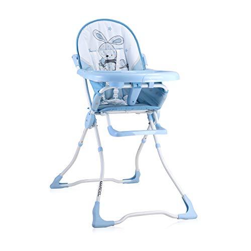 Lorelli, chaise haute Marcel, pliable, creux de tasse, tissu lavable, coloris:bleu clair