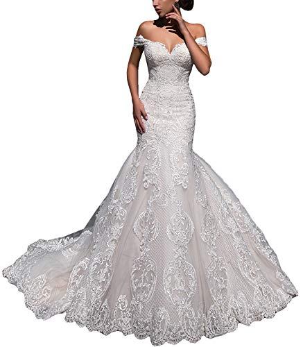 Fenghauvip Mermaid Wedding Dress Off The Shoulder Bride Dress Lace Up Back Long Train
