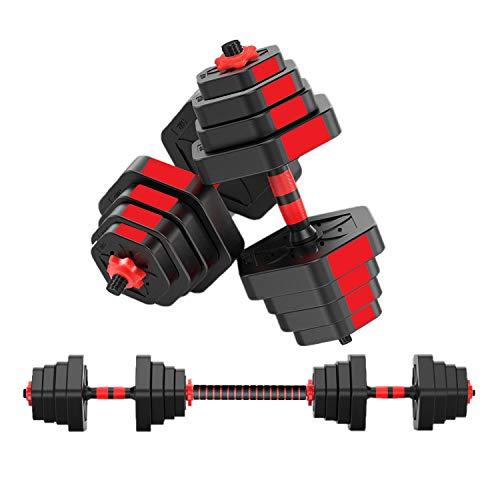 MOJEER ダンベル 可変式【最新進化版・3in1】10kg 20kg 30kg 40kg 2個セット バーベルにもなる ダンベル 無臭素材 静音 008 (15kg×2個セット 赤)