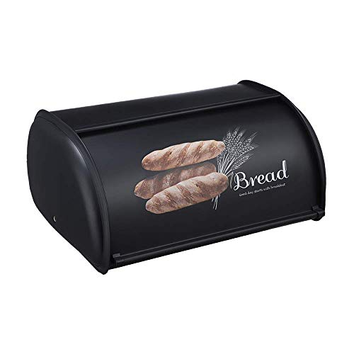 Beyoung Bread Box for Kitchen Counter, Roll Top Bread Box Storage Bin Stainless, Steel Bread Box for kitchen,Metal Bread Bin,Bread Storage Bread holder (Black)