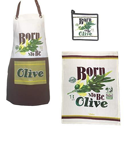 """3-teiliges Küchenschürzen Set aus 100% Baumwolle, Küchenschürze, Topflappen & Küchentuch mit """"Born to Be Olive"""" Druck"""